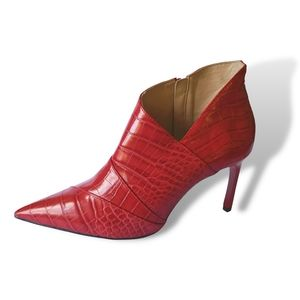 Zara Trafaluc Pointed Toe Red Watermelon Embossed Booties Heels Ankle Boots sz40